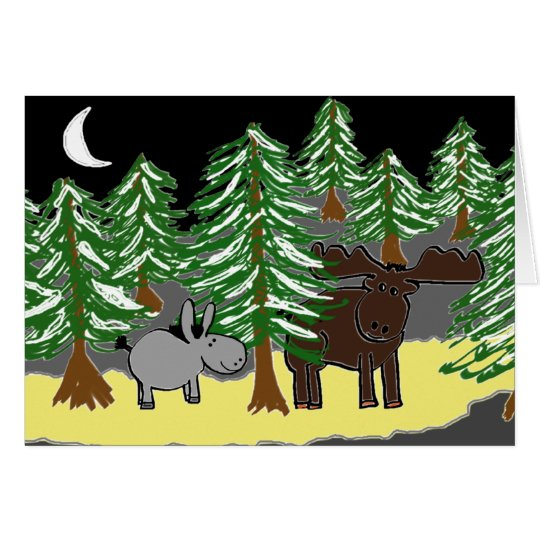 donkey and moose in snow card