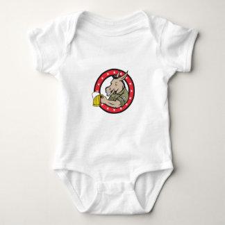 Donkey Beer Drinker Circle Retro Baby Bodysuit
