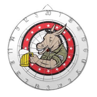 Donkey Beer Drinker Circle Retro Dartboard