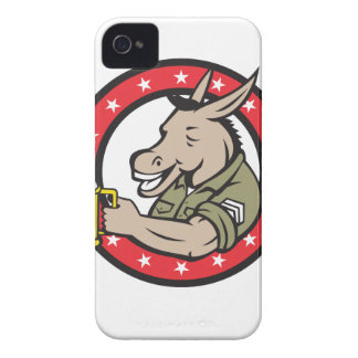 Donkey Beer Drinker Circle Retro iPhone 4 Case-Mate Case