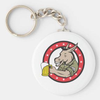 Donkey Beer Drinker Circle Retro Keychain