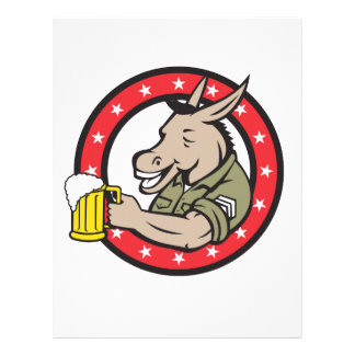 Donkey Beer Drinker Circle Retro Letterhead