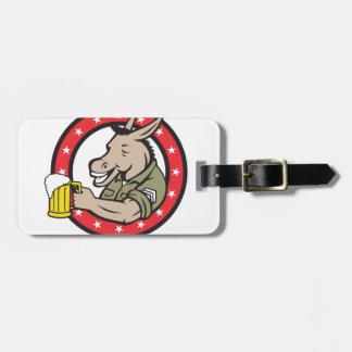 Donkey Beer Drinker Circle Retro Luggage Tag