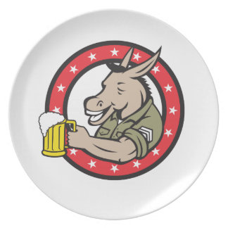 Donkey Beer Drinker Circle Retro Plate