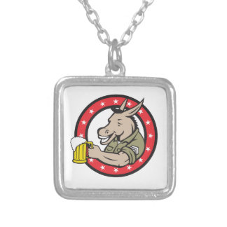Donkey Beer Drinker Circle Retro Silver Plated Necklace