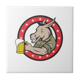Donkey Beer Drinker Circle Retro Tile