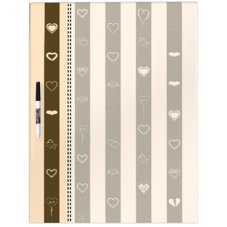 Donkey Brown Stripes Modern Heart Pattern Dry Erase Board