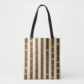 Donkey Brown Stripes Modern Heart Pattern Tote Bag