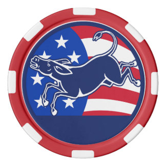Donkey Democrat Flag Set Of Poker Chips