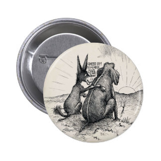 Donkey Elephant Election Pin/ 2 Inch Round Button