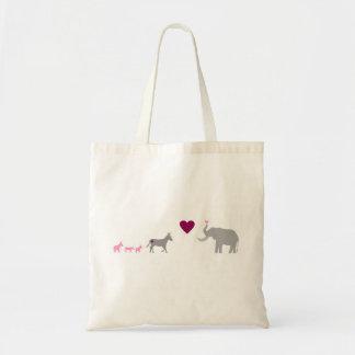 Donkey Elephant Love Tote Bag