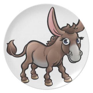 Donkey Farm Animals Cartoon Character Plate