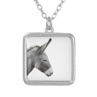 Donkey Head in Profile Silver Plated Necklace