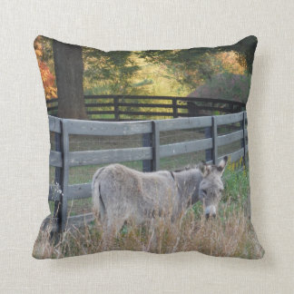 Donkey in an Autumn field, Throw Pillow