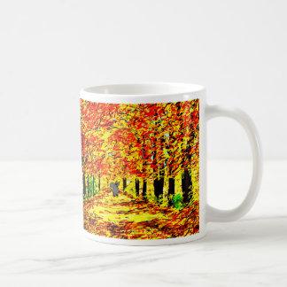 donkey in autumn leaves coffee mug