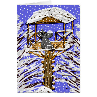 donkey in treehouse in snow card