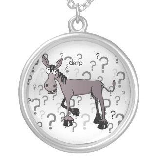 Donkey interrogation derp silver plated necklace