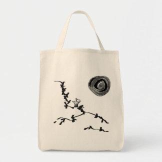 donkey looks at moon tote bag