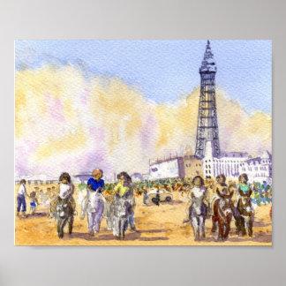 Donkey Rides - Blackpool Poster