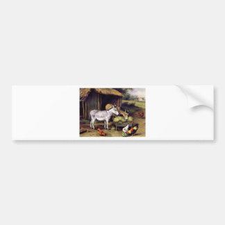 Donkey rooster farm bumper sticker