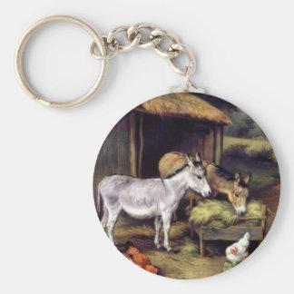 Donkey rooster farm key chain