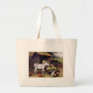 Donkey rooster farm large tote bag
