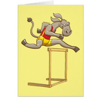 Donkey running and jumping over a hurdle card