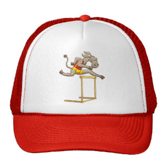 Donkey running and jumping over a hurdle trucker hat