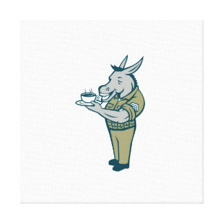 Donkey Sergeant Army Standing Drinking Coffee Cart Canvas Print