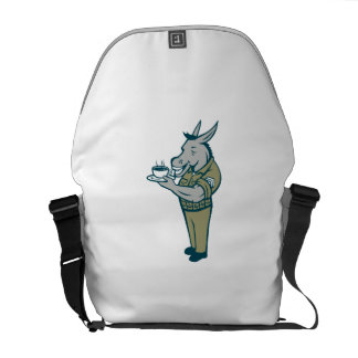Donkey Sergeant Army Standing Drinking Coffee Cart Messenger Bags