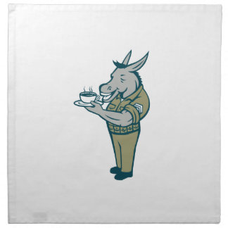 Donkey Sergeant Army Standing Drinking Coffee Cart Napkin