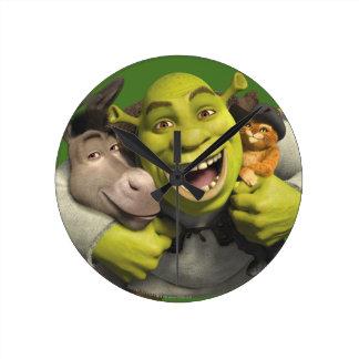 Donkey, Shrek, And Puss In Boots Wallclock