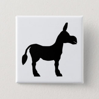 Donkey Silhouette 2 Inch Square Button