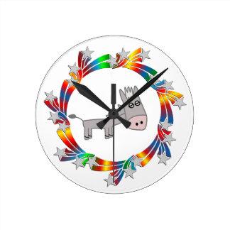 Donkey Stars Round Clock
