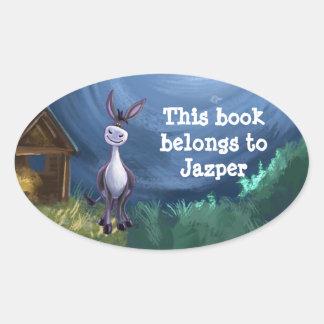 Donkey Stationery Oval Sticker