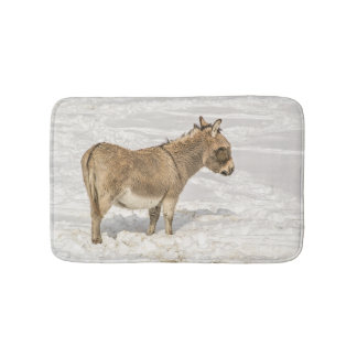 Donkey with Bangs in the Snow Bath Mat