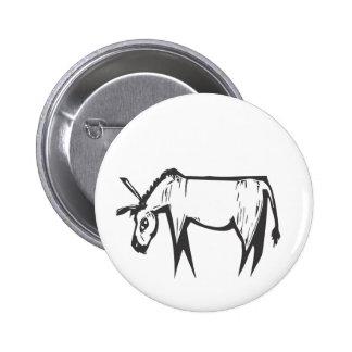 Donkey Woodcut 2 Inch Round Button