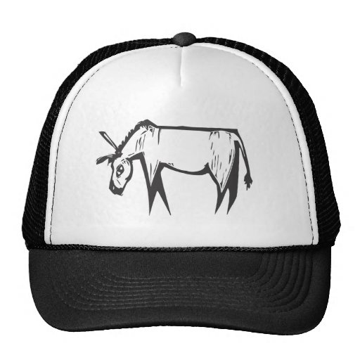 Donkey Woodcut Trucker Hats