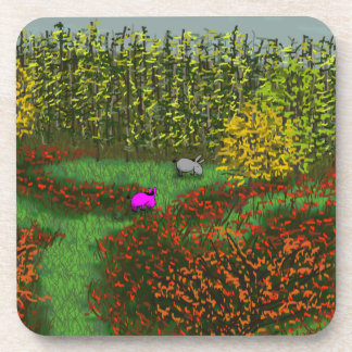 donkeys in field in autumn coaster