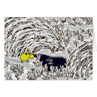 donkeys in snow card