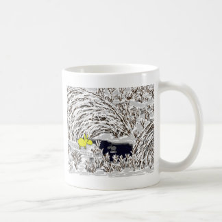 donkeys in snow coffee mug