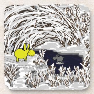 donkeys in winter coaster