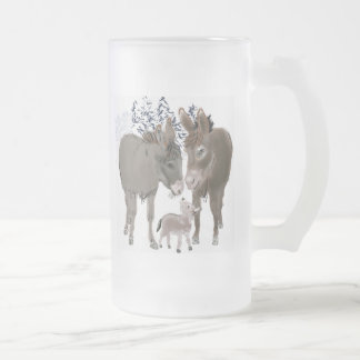 Donkeys in Winter Frosted Glass Beer Mug