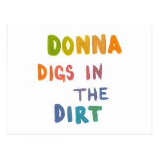 Donna digs in the dirt fun art words gardening postcard