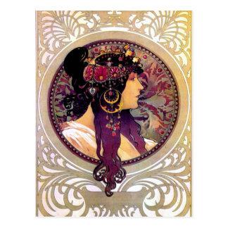 Donna Orechini by Alphonse Mucha Postcard