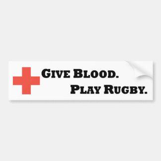 Donnez le sang Jouez au rugby Autocollant Pour Voiture