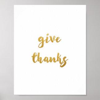 Donnez les mercis - copie d'art - décor - or