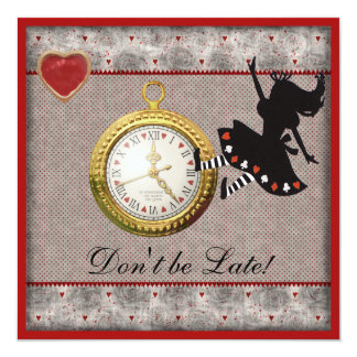 Don't be Late Alice in Wonderland Birthday Party 5.25x5.25 Square Paper Invitation Card