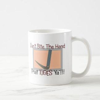 Dont bite the hand that TUBES YA Classic White Coffee Mug