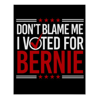 Don't Blame Me I Voted For Bernie -- Anti-Trump De Poster